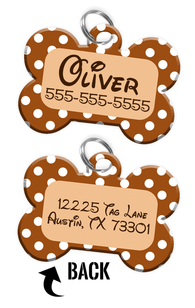 Double-sided Brown Polka Dot Custom Dog Tag Personalized for Pets with Name & Number on the front & address on the back (Disney pet tag themed)