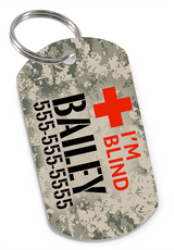 I'M BLIND Camo (Classic) Dog Tag for Blind Dogs & Blind Cats Personalized Custom Pet Tag with Pets Name & Contact Number - EliteFanCo