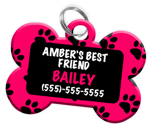 Girl's Best Friend Dog Tag for Pets Personalized Custom Pet Tag with Pets Name & Contact Number [Multiple Font Choices] [USA COMPANY] | ElitePetFan.com