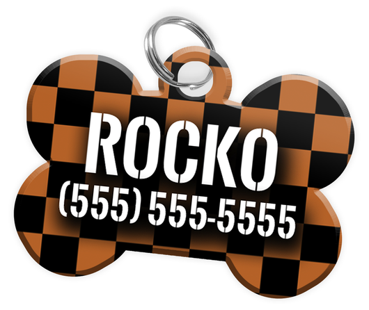 Checkered (Brown) Dog Tag for Pets Personalized Custom Pet Tag with Pets Name & Contact Number [Multiple Font Choices] [USA COMPANY] | ElitePetFan.com