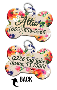 Double-sided Flower Custom Dog Tag Personalized for Pets with Name & Number on the front & address on the back - EliteFanCo