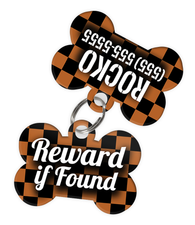 Checkered (Brown) Dog Tag for Pets - Reward if Found Tag & Personalized Custom Pet Tag with Pets Name & Contact Number (Two Tags) - EliteFanCo