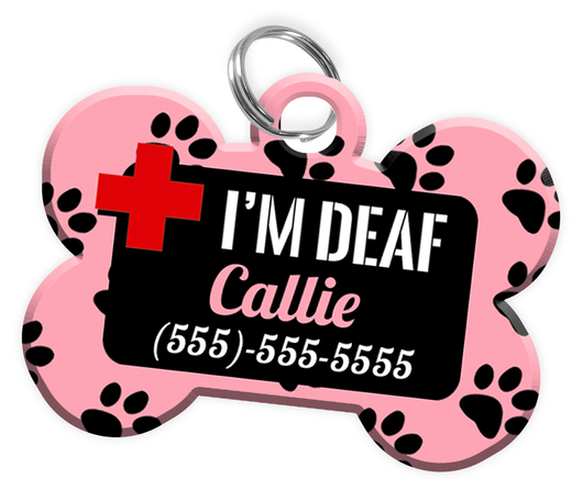 I'M DEAF (Light Pink) Alert Dog Tag for Deaf Dogs Personalized Pet Tag with Pets Name & Contact Number [Multiple Font Choices] [USA COMPANY] - EliteFanCo