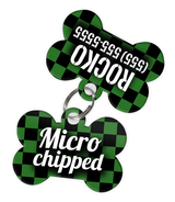 Checkered (Green) Dog Tag for Pets - Microchipped Tag & Personalized Custom Pet Tag with Pets Name & Contact Number (Two Tags) - EliteFanCo
