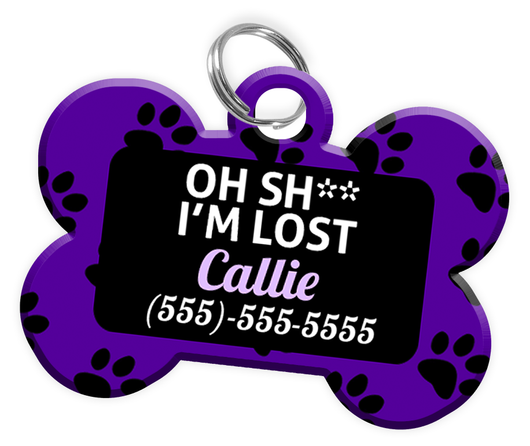 Funny OH SH** I'M LOST Dog Tag for Dog Personalized Pet Tag with Pets Name & Contact Number [Multiple Font Choices] [USA COMPANY] - EliteFanCo