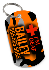 I'M DEAF Camo (Orange) Dog Tag for Deaf Dogs & Deaf Cats Personalized Custom Pet Tag with Pets Name & Contact Number - EliteFanCo