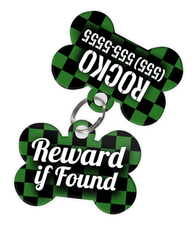 Checkered (Green) Dog Tag for Pets - Reward if Found Tag & Personalized Custom Pet Tag with Pets Name & Contact Number (Two Tags) - EliteFanCo