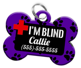 I'M BLIND (Purple) Alert Dog Tag for Blind Dogs Personalized Pet Tag with Pets Name & Contact Number [Multiple Font Choices] [USA COMPANY] | ElitePetFan.com