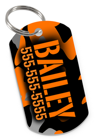 Camo (Orange) Dog Tag for Pets Personalized Custom Pet Tag with Pets Name & Contact Number [USA COMPANY] | ElitePetFan.com