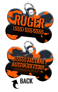 Double-sided Camo Orange Custom Dog Tag Personalized for Pets with Name & Number on the front & address on the back
