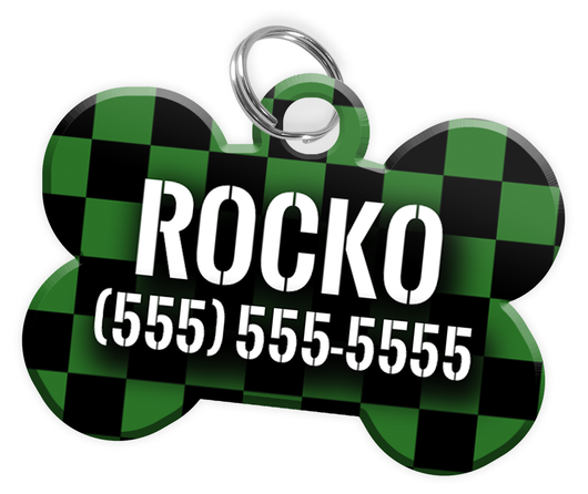 Checkered (Green) Dog Tag for Pets Personalized Custom Pet Tag with Pets Name & Contact Number [Multiple Font Choices] [USA COMPANY] - EliteFanCo