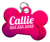 Baseball (Pink) Dog Tag for Pets Personalized Custom Pet Tag with Pets Name & Contact Number [Multiple Font Choices] [USA COMPANY] - EliteFanCo