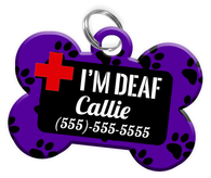 I'M DEAF (Purple) Alert Dog Tag for Deaf Dogs Personalized Pet Tag with Pets Name & Contact Number [Multiple Font Choices] [USA COMPANY] - EliteFanCo