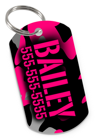 Camo (Pink) Dog Tag for Pets Personalized Custom Pet Tag with Pets Name & Contact Number [USA COMPANY] | ElitePetFan.com