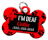 I'M DEAF (Red) Alert Dog Tag for Deaf Dogs Personalized Pet Tag with Pets Name & Contact Number [Multiple Font Choices] [USA COMPANY] - EliteFanCo