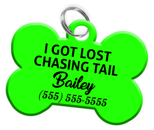 Funny I GOT LOST CHASING TAIL (Light Green) Dog Tag for Pets Personalized Custom Pet Tag with Pets Name & Contact Number - EliteFanCo