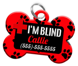 I'M BLIND (Red) Alert Dog Tag for Blind Dogs Personalized Pet Tag with Pets Name & Contact Number [Multiple Font Choices] [USA COMPANY] - EliteFanCo