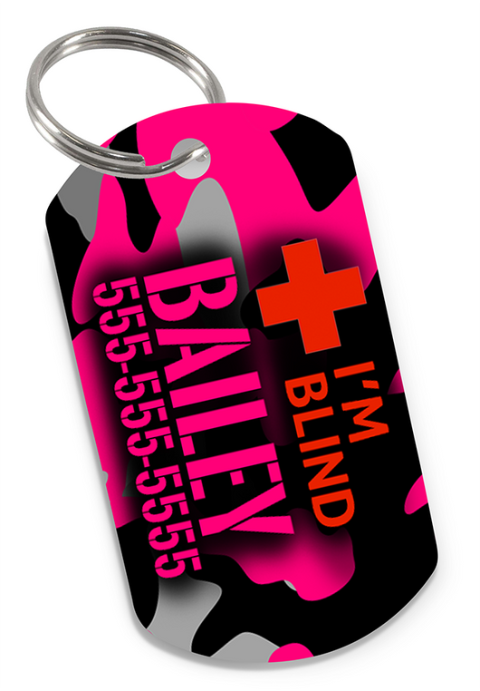 I'M BLIND Camo (Pink) Dog Tag for Blind Dogs & Blind Cats Personalized Custom Pet Tag with Pets Name & Contact Number - EliteFanCo