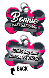 Double-sided Camo Pink Custom Dog Tag Personalized for Pets with Name & Number on the front & address on the back - EliteFanCo