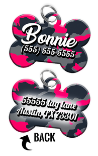 Double-sided Camo Pink Custom Dog Tag Personalized for Pets with Name & Number on the front & address on the back