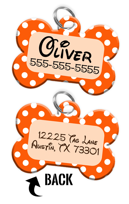 Double-sided Orange Polka Dot Custom Dog Tag Personalized for Pets with Name & Number on the front & address on the back (Disney pet tag themed) - EliteFanCo