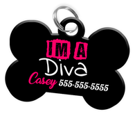 IM A DIVA Dog Tag for Pets Personalized Custom Pet Tag with Pets Name & Contact Number [Multiple Font Choices] [USA COMPANY] | ElitePetFan.com