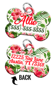 Double-sided Flower Custom Dog Tag for Pets with Name & Number on the front & address on the back