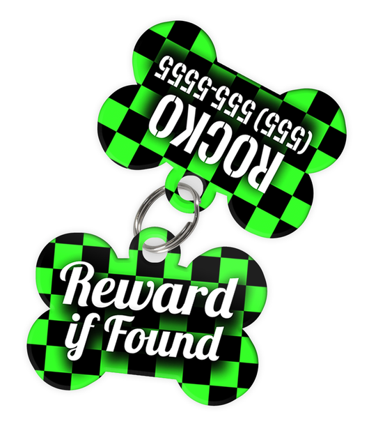 Checkered (Light Green) Dog Tag for Pets - Reward if Found Tag & Personalized Custom Pet Tag with Pets Name & Contact Number (Two Tags)