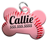Baseball (Light Pink) Dog Tag for Pets Personalized Custom Pet Tag with Pets Name & Contact Number [Multiple Font Choices] [USA COMPANY] | ElitePetFan.com