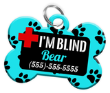 I'M BLIND (Turquoise) Alert Dog Tag for Blind Dogs Personalized Pet Tag with Pets Name & Contact Number [Multiple Font Choices] [USA COMPANY] - EliteFanCo