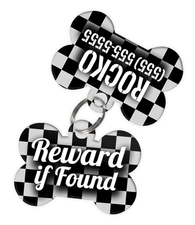 Checkered (Grey) Dog Tag for Pets - Reward if Found Tag & Personalized Custom Pet Tag with Pets Name & Contact Number (Two Tags) - EliteFanCo