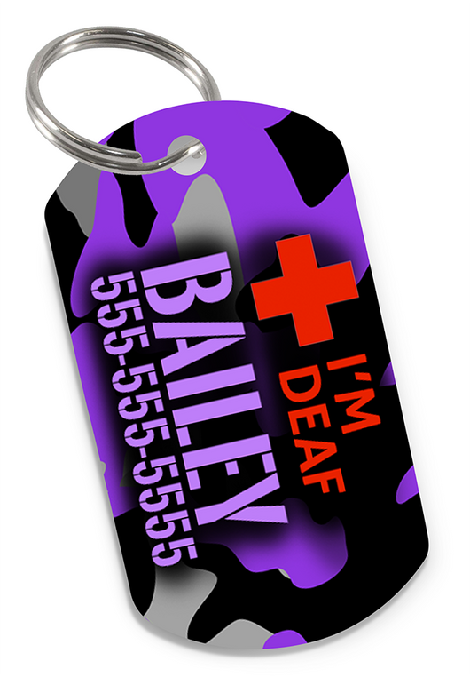 I'M DEAF Camo (Purple) Dog Tag for Deaf Dogs & Deaf Cats Personalized Custom Pet Tag with Pets Name & Contact Number | ElitePetFan.com