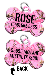 Double-sided Camo Pink Tree Custom Dog Tag Personalized for Pets with Name & Number on the front & address on the back | ElitePetFan.com