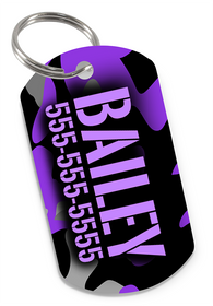 Camo (Purple) Dog Tag for Pets Personalized Custom Pet Tag with Pets Name & Contact Number [USA COMPANY] | ElitePetFan.com