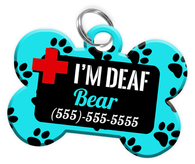 I'M DEAF (Turquoise) Alert Dog Tag for Deaf Dogs Personalized Pet Tag with Pets Name & Contact Number [Multiple Font Choices] [USA COMPANY] - EliteFanCo