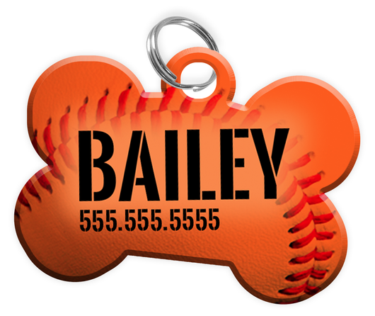Baseball (Orange) Dog Tag for Pets Personalized Custom Pet Tag with Pets Name & Contact Number [Multiple Font Choices] [USA COMPANY - EliteFanCo