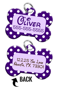 Double-sided Purple Polka Dot Custom Dog Tag Personalized for Pets with Name & Number on the front & address on the back (Disney pet tag themed)