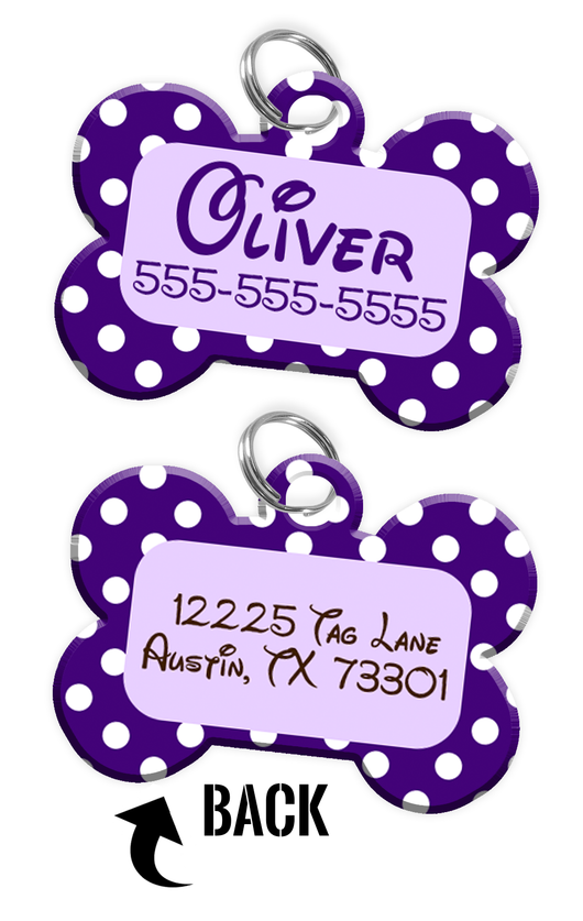 Double-sided Purple Polka Dot Custom Dog Tag Personalized for Pets with Name & Number on the front & address on the back (Disney pet tag themed) - EliteFanCo