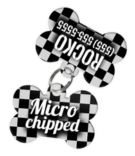 Checkered (Grey) Dog Tag for Pets - Microchipped Tag & Personalized Custom Pet Tag with Pets Name & Contact Number (Two Tags) - EliteFanCo