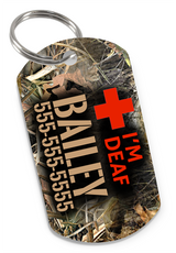 I'M DEAF Camo Dog Tag for Deaf Dogs & Deaf Cats Personalized Custom Pet Tag with Pets Name & Contact Number