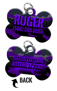 Double-sided Camo Purple Custom Dog Tag Personalized for Pets with Name & Number on the front & address on the back - EliteFanCo
