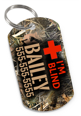 I'M BLIND Camo Dog Tag for Blind Dogs & Blind Cats Personalized Custom Pet Tag with Pets Name & Contact Number - EliteFanCo