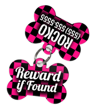 Checkered (Hot Pink) Dog Tag for Pets - Reward if Found Tag & Personalized Custom Pet Tag with Pets Name & Contact Number (Two Tags) - EliteFanCo