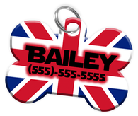 United Kingdom Flag Dog Tag for Pets Personalized Custom Pet Tag with Pets Name & Contact Number [Multiple Font Choices] [USA COMPANY]