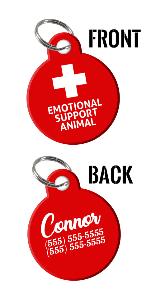 Emotional Support Animal (ESA) double-sided pet ID tags for Dogs & Cats with Personalized Pets Name & Contact Number on the back - EliteFanCo