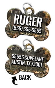 Double-sided Camo Tree Custom Dog Tag Personalized for Pets with Name & Number on the front & address on the back
