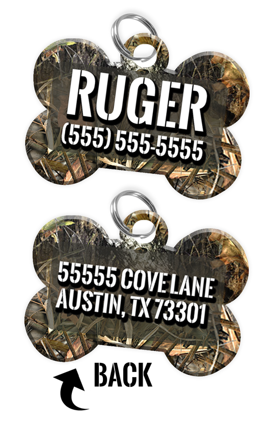 Double-sided Camo Tree Custom Dog Tag Personalized for Pets with Name & Number on the front & address on the back - EliteFanCo