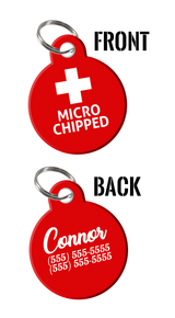 Double-sided pet ID tag for Dog or Cat alerting that your pet is microchipped with Personalized Pets Name & Contact Number on the back - EliteFanCo