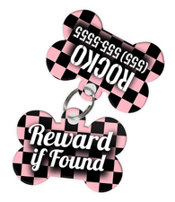 Checkered (Pink) Dog Tag for Pets - Reward if Found Tag & Personalized Custom Pet Tag with Pets Name & Contact Number (Two Tags) - EliteFanCo