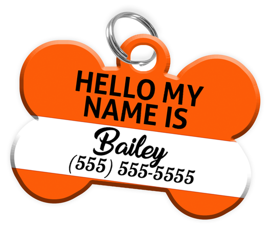 Name Tag (Orange) Dog Tag for Pets Personalized Custom Pet Tag with Pets Name & Contact Number [Multiple Font Choices] [USA COMPANY]